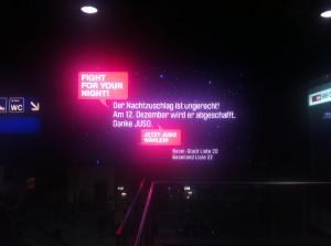Nachtzuschlag weg!, LED-Wand, Basel SBB