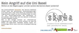 "Petition ""Kein Angriff auf die Uni Basel!"""